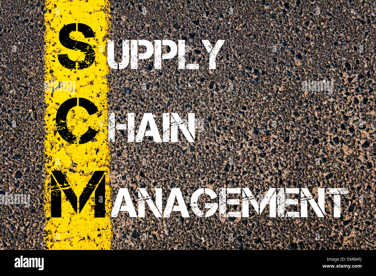 Business Acronym SCM as Supply Chain Management. Yellow paint line on the road against asphalt background. Conceptual Stock Photo