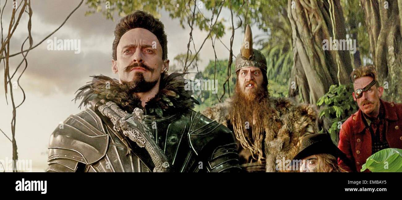 PAN 2015 Warner Bros film with Hugh Jackman at left - Stock Image