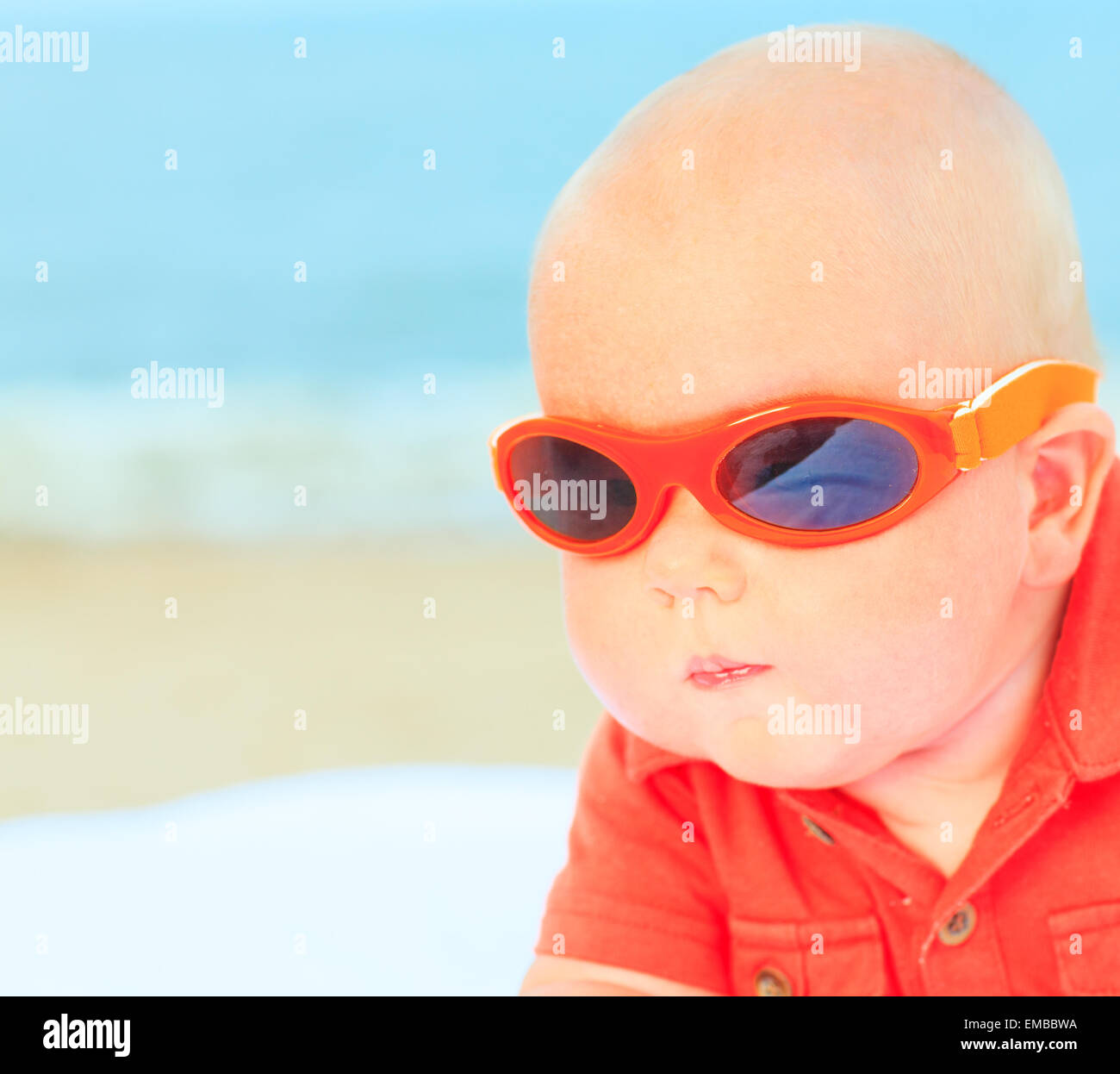 Boy Wearing Sunglasses On Beach Stock Photos & Boy Wearing