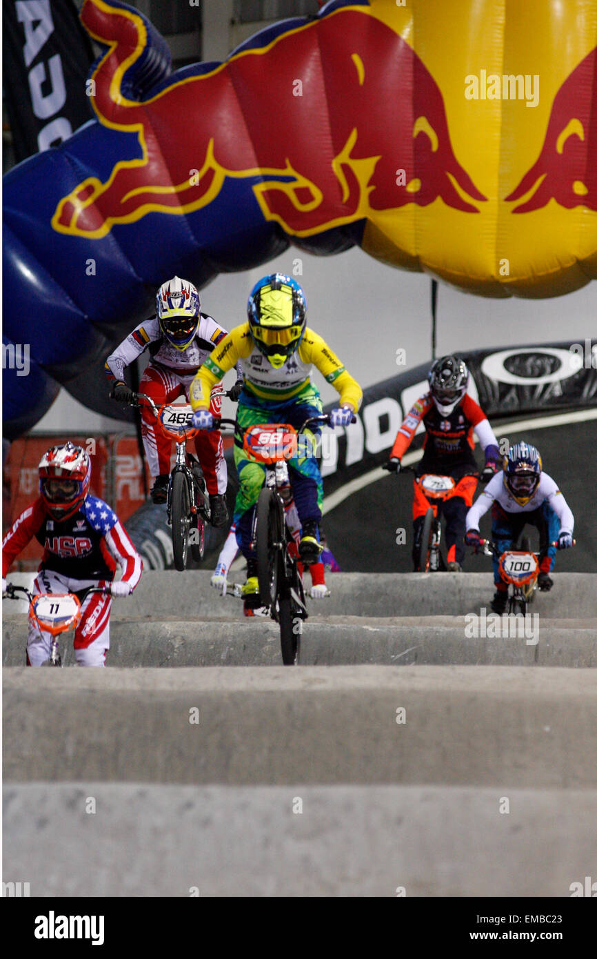 Manchester, UK. 19th April, 2015. ahead of  2015 BMX Supercross Round 1  at National Cycling Centre ahead of  2015 Stock Photo