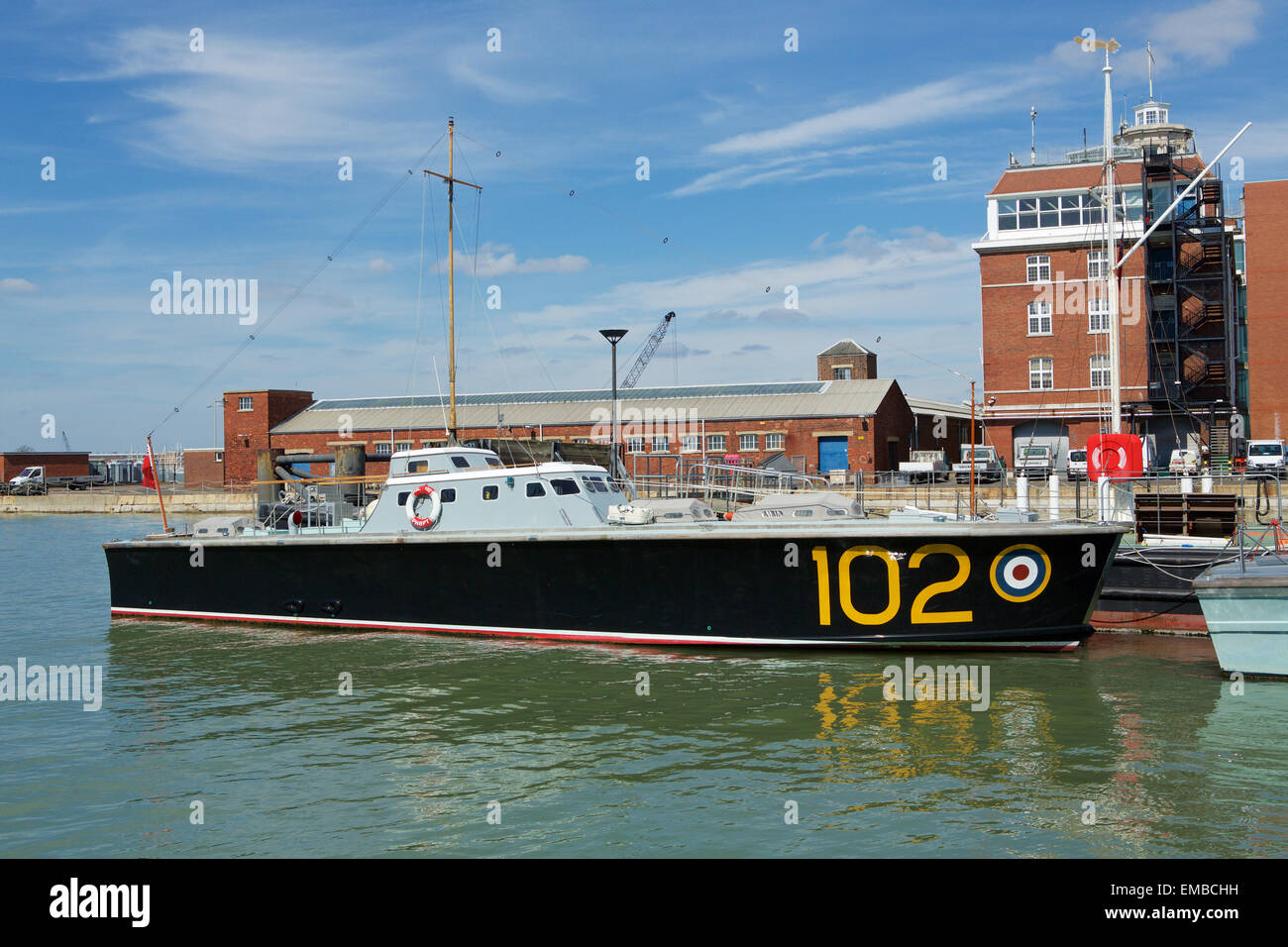 HSL 102 Motor launch in Portsmouth Dockyard. Vintage vessel which has seen service with the RAF and Royal Navy. - Stock Image