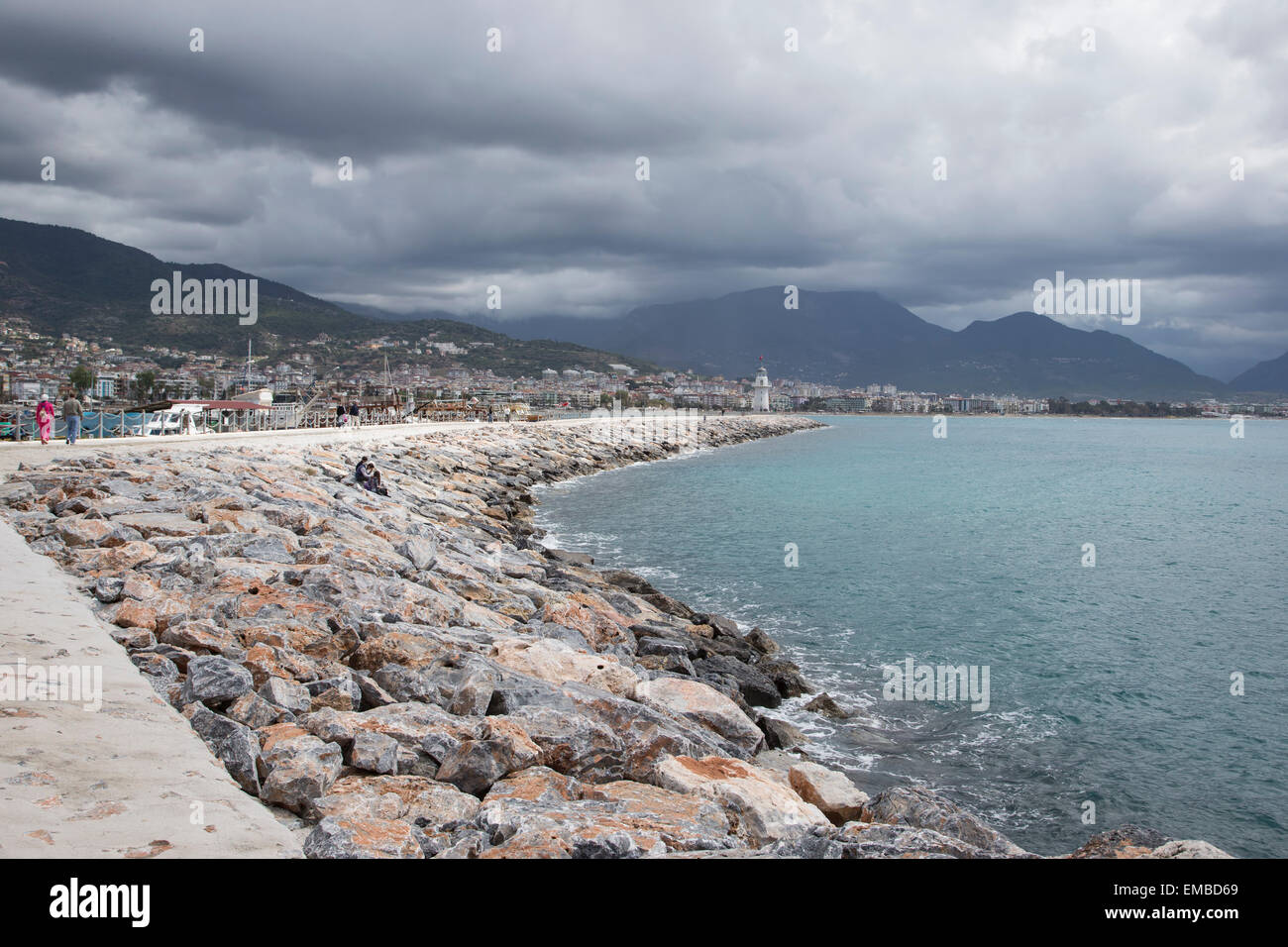 Harbour harbor wall and stone breakwater at Alanya seaport in Turkey - Stock Image