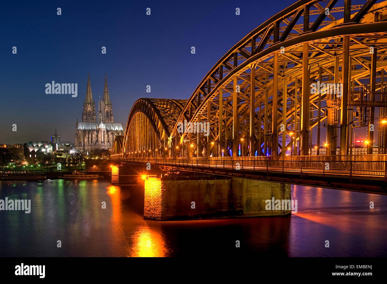 Cologne Dome, Hohenzollern Bridge at night, Northrhine-Westfalia, Germany, Europe Stock Photo