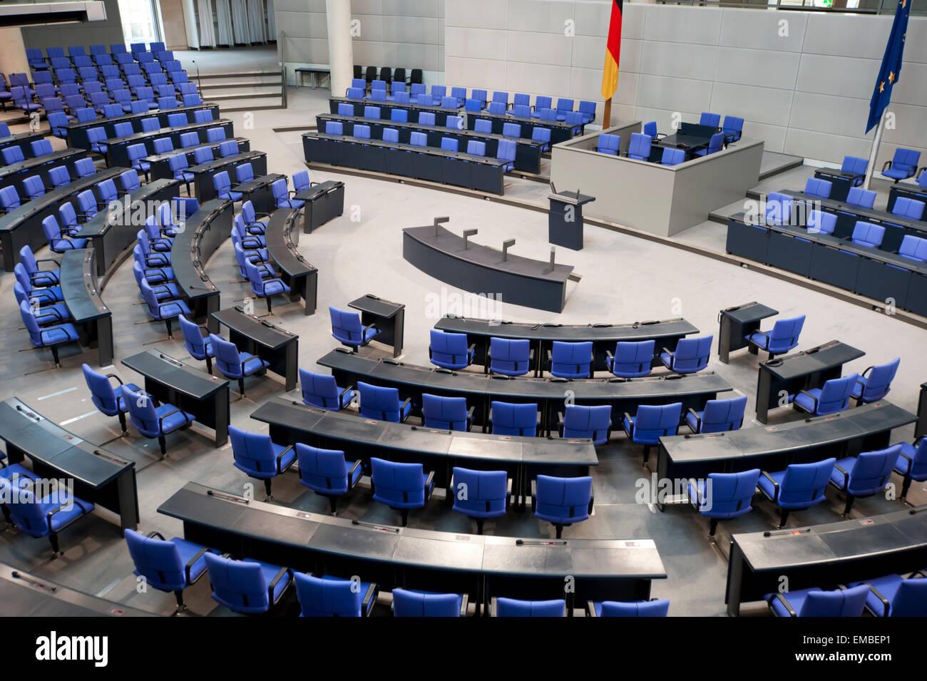 Empty Bundestag German Parliament Berlin Germany Europe - Stock Image