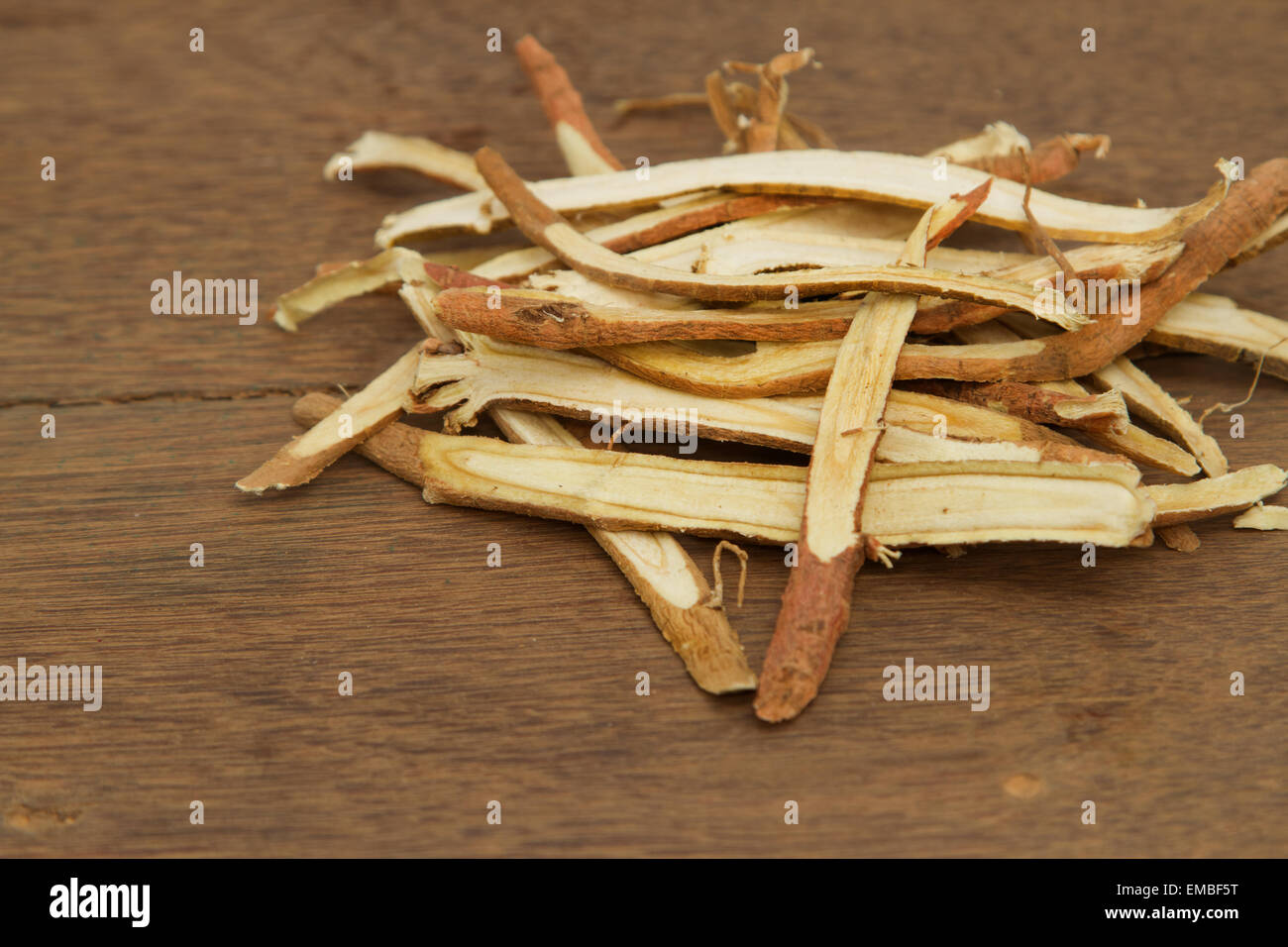 Liquorice root, used in chinese herbal medicine - Stock Image