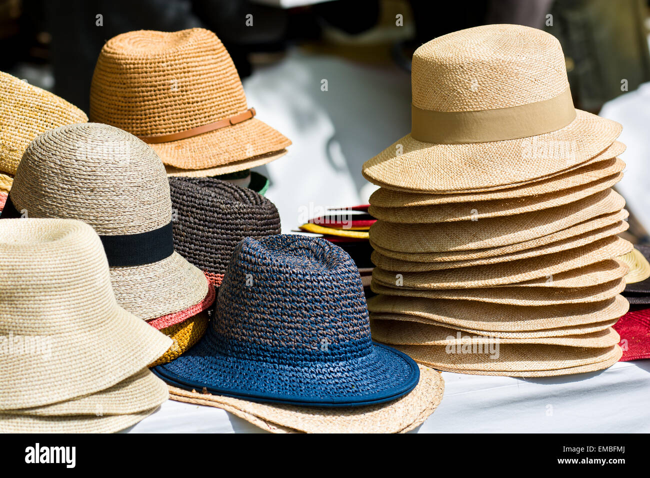 a38fc9e196b09e Pile Of Assorted Hats For Sale At Outdoor Market · Andreas Berthold / Alamy  Stock Photo