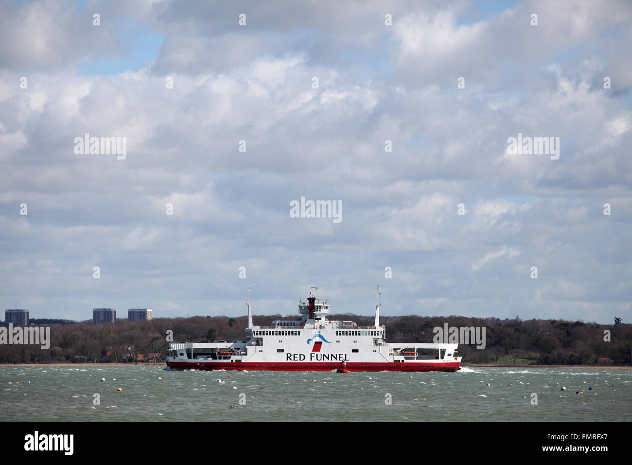 Red Funnel Ferry the Red Eagle traveling between Southampton and the Isle of Wight - Stock Image