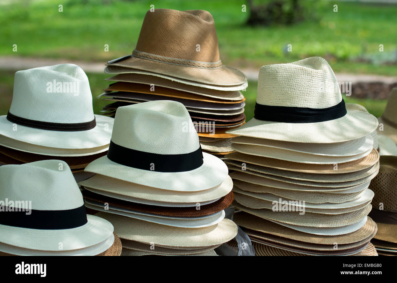 dce20dccb131bd Pile Of Assorted Hats For Sale At Outdoor Market Stock Photo ...