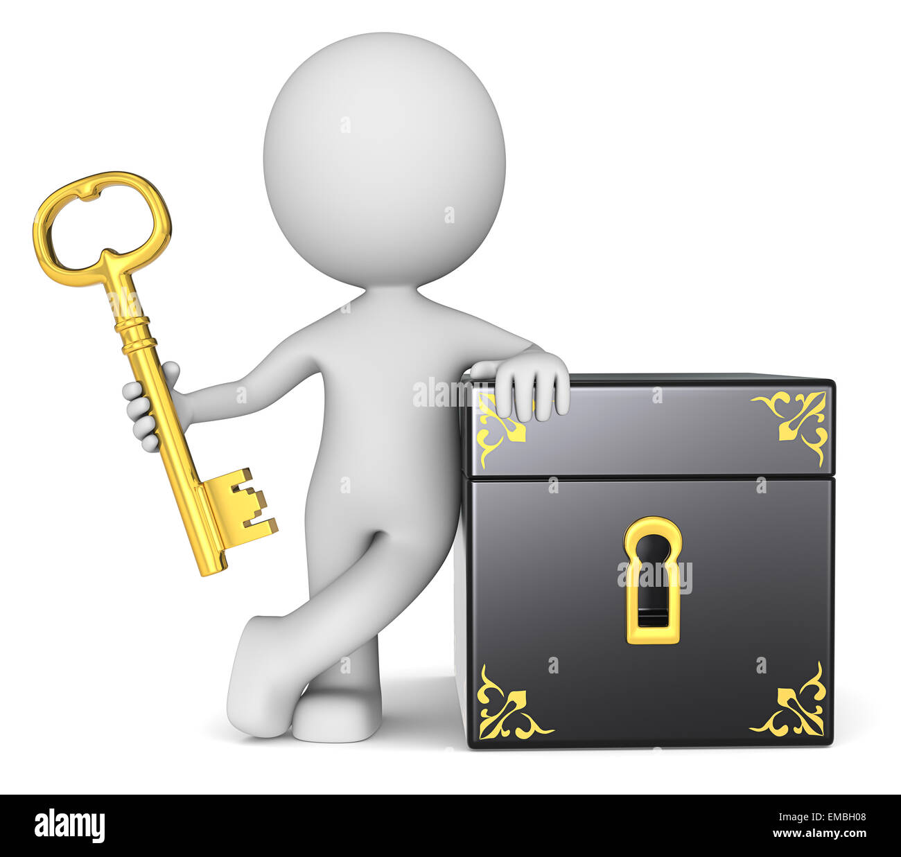 The dude 3D character holding Golden Key to Closed Box. - Stock Image