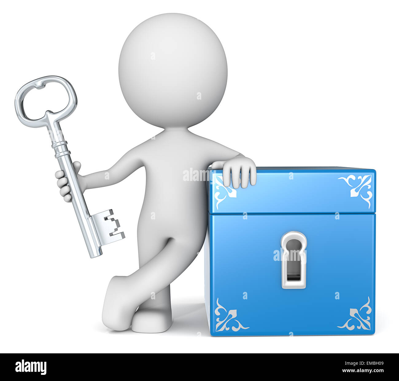 The dude 3D character holding Key to Closed Box. - Stock Image