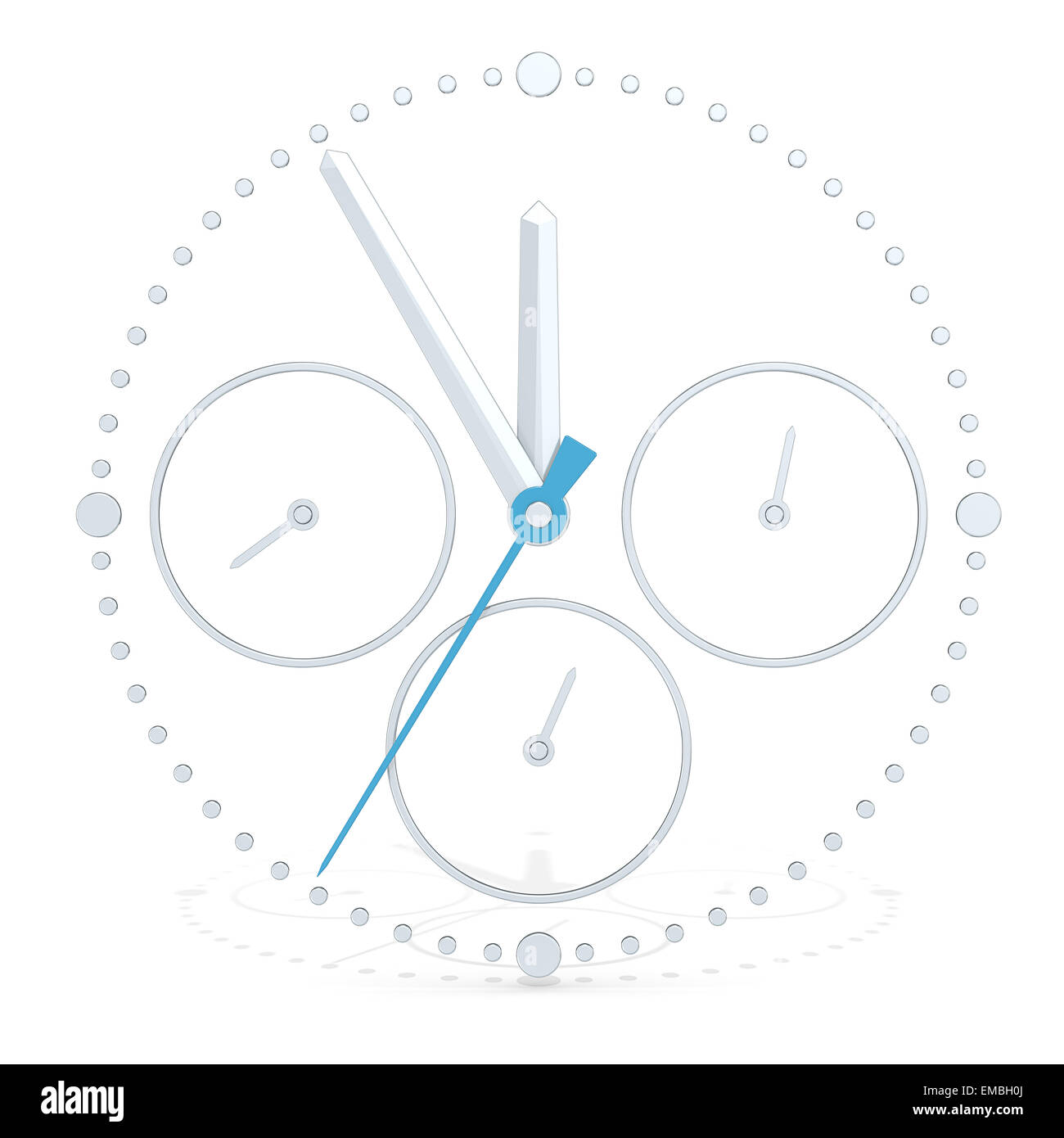 Abstract 3D metal Chronograph. Blue Second hand. - Stock Image