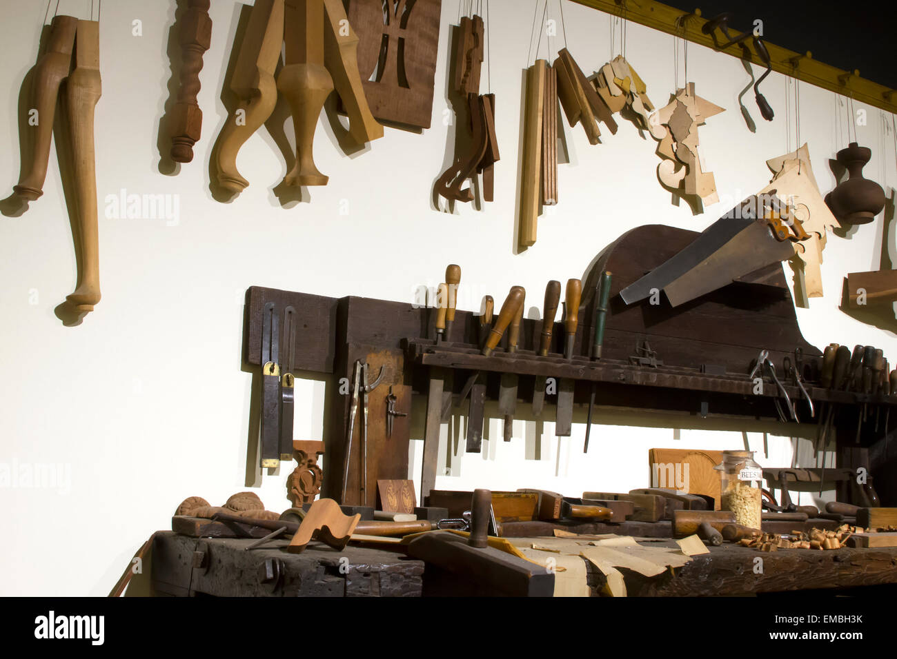 Workbench with clockmaker tools and components. - Stock Image