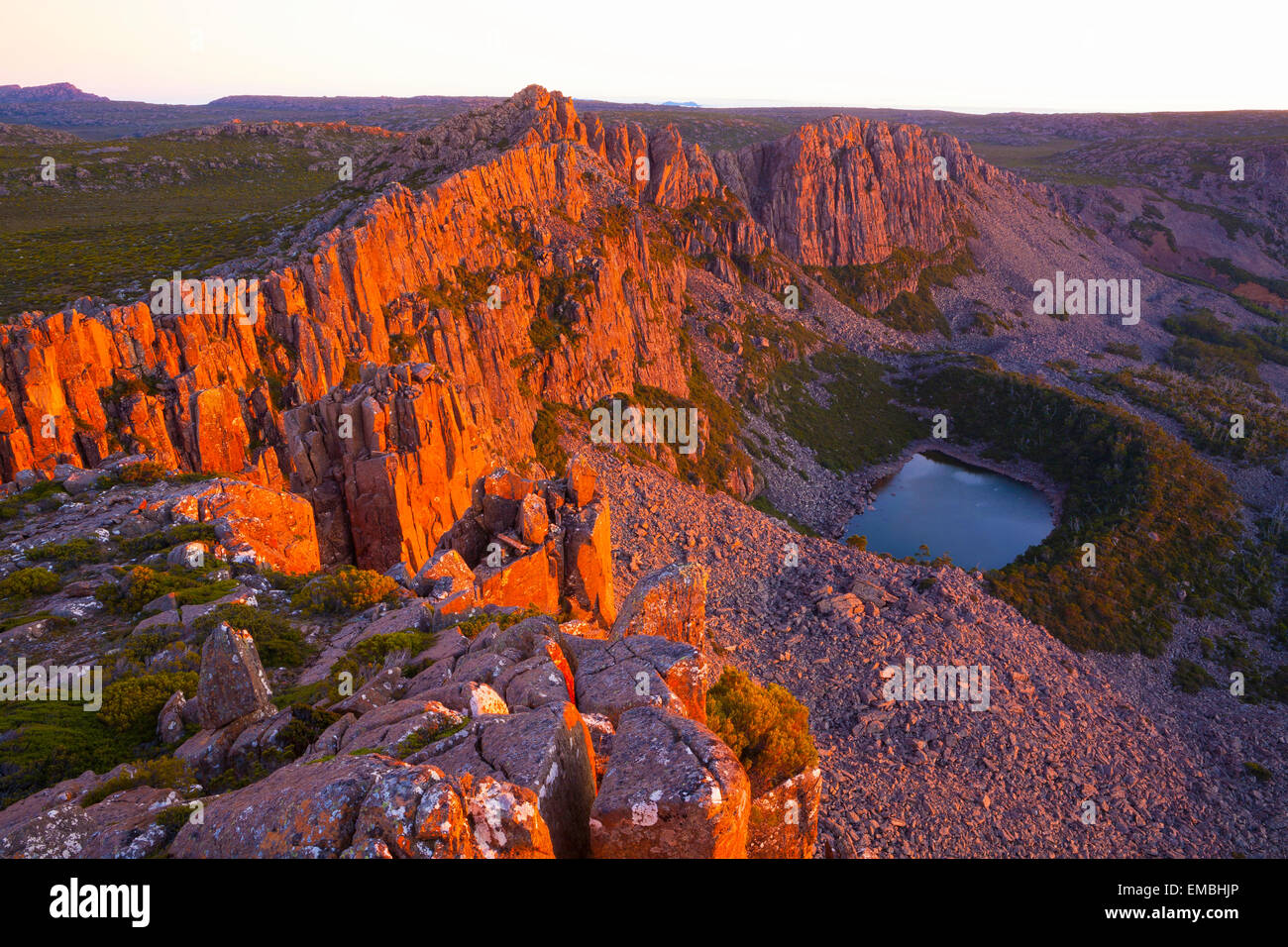 Tranquil Tarn from above - Ben Lomond National Park - Tasmania - Australia Stock Photo