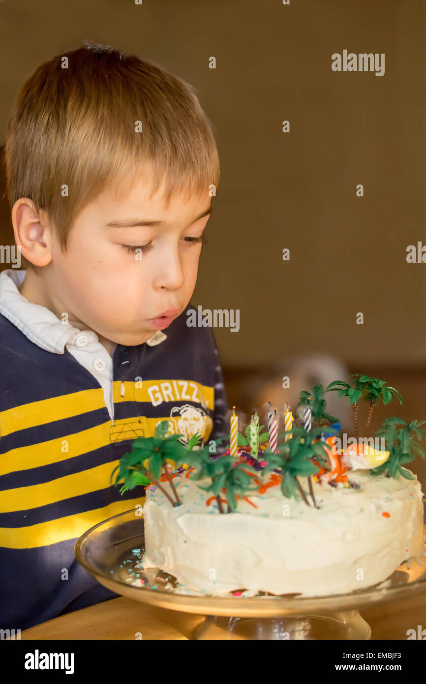 Seven Year Old Boy Blowing Out The Candles On His Birthday Cake In Issaquah Washington USA