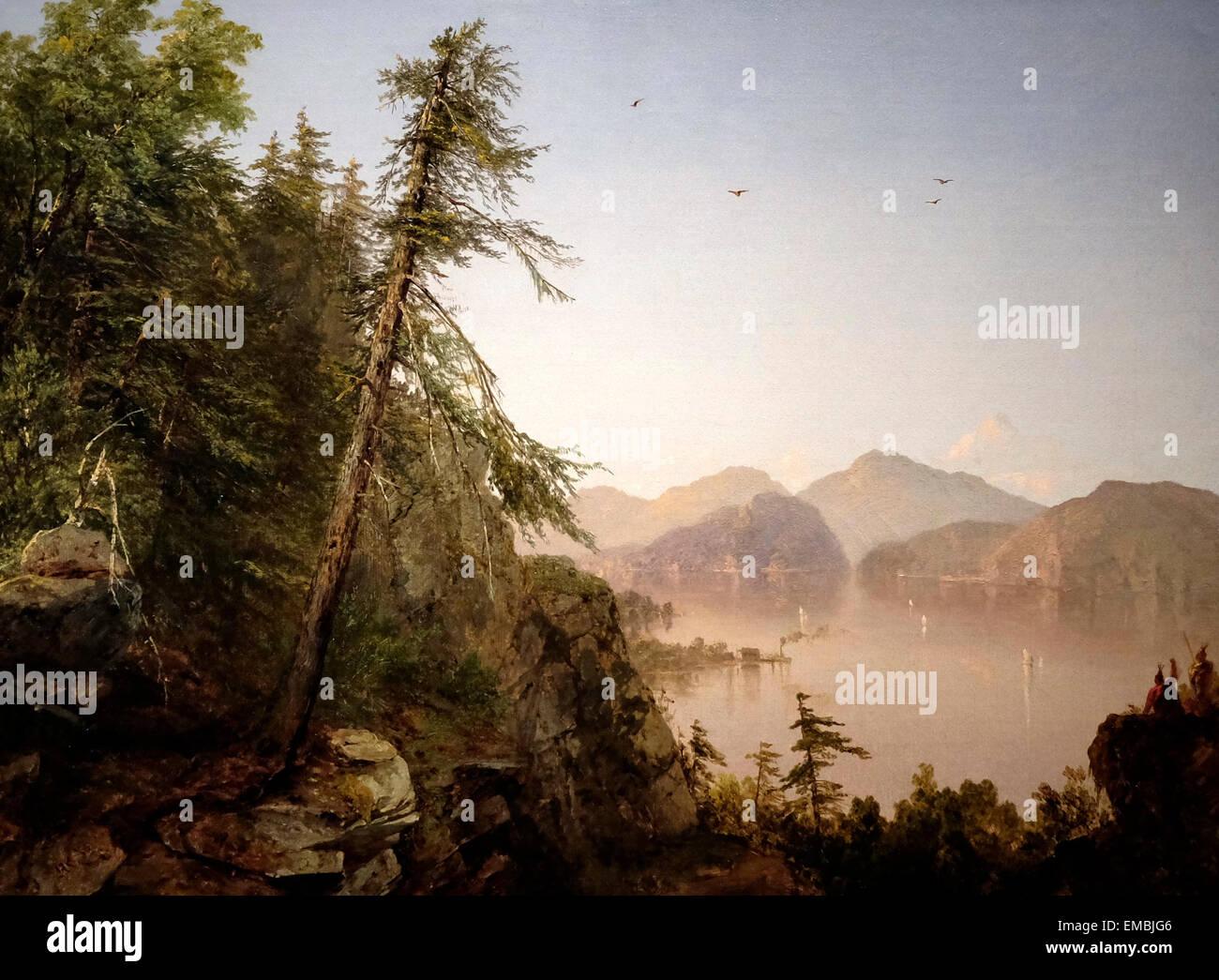 Along the Hudson - 1852 - John Frederick Kensett Stock Photo