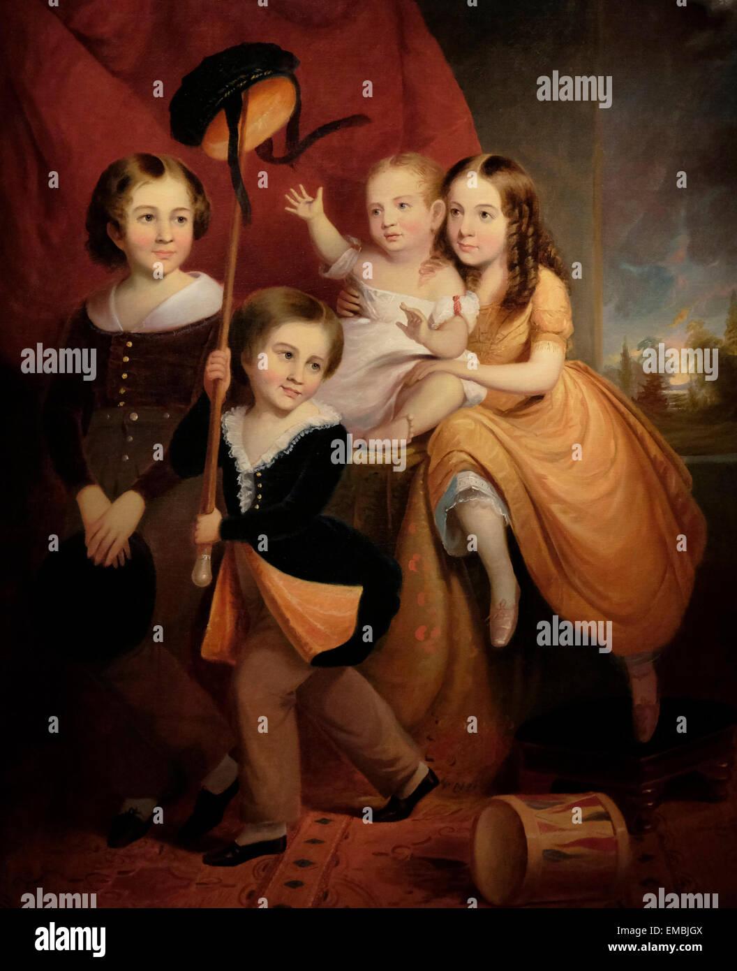 The Stephens Children, 1845, Unidentified Artist - Stock Image