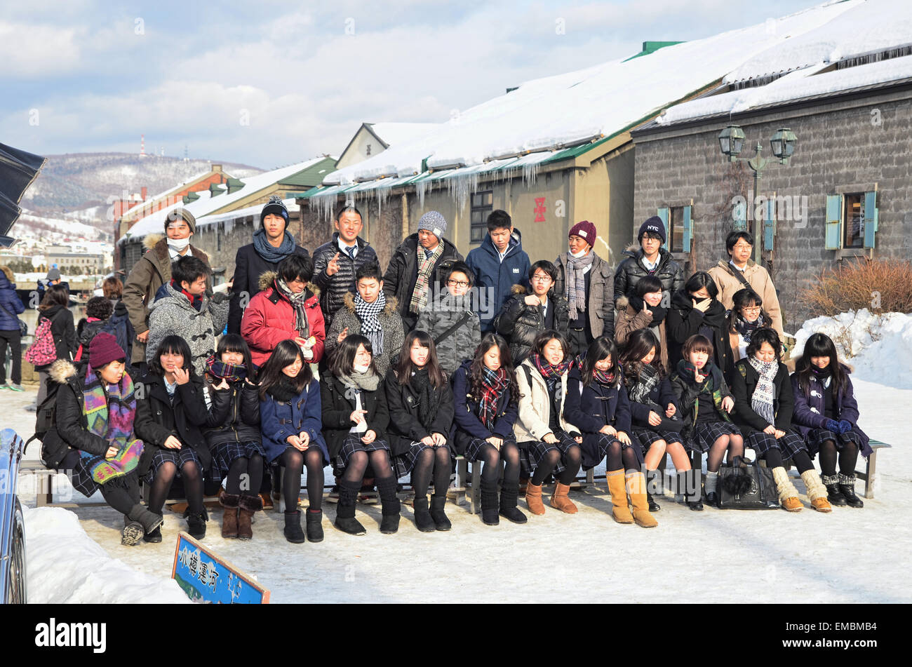 Photo group of junior high school students at Otaru Canal - Stock Image