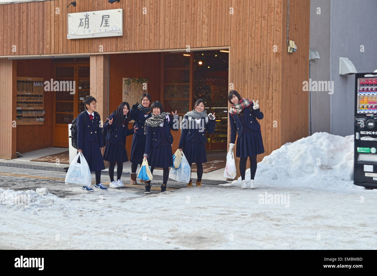 A group of Japanese Junior High School student girls - Stock Image