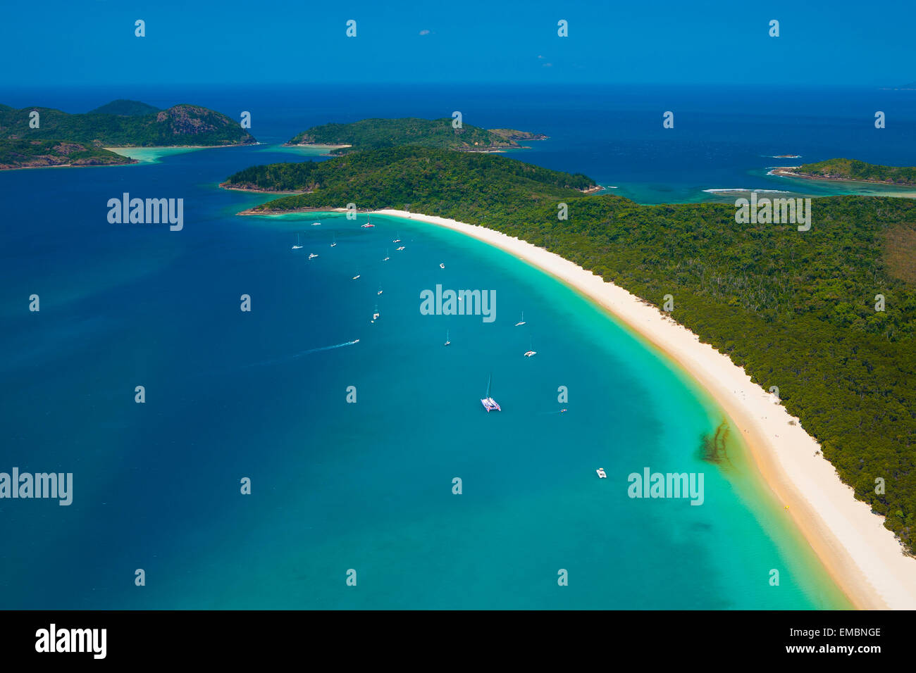 Whitehaven Beach - Whitsunday Islands National Park - Queensland - Australia - Stock Image