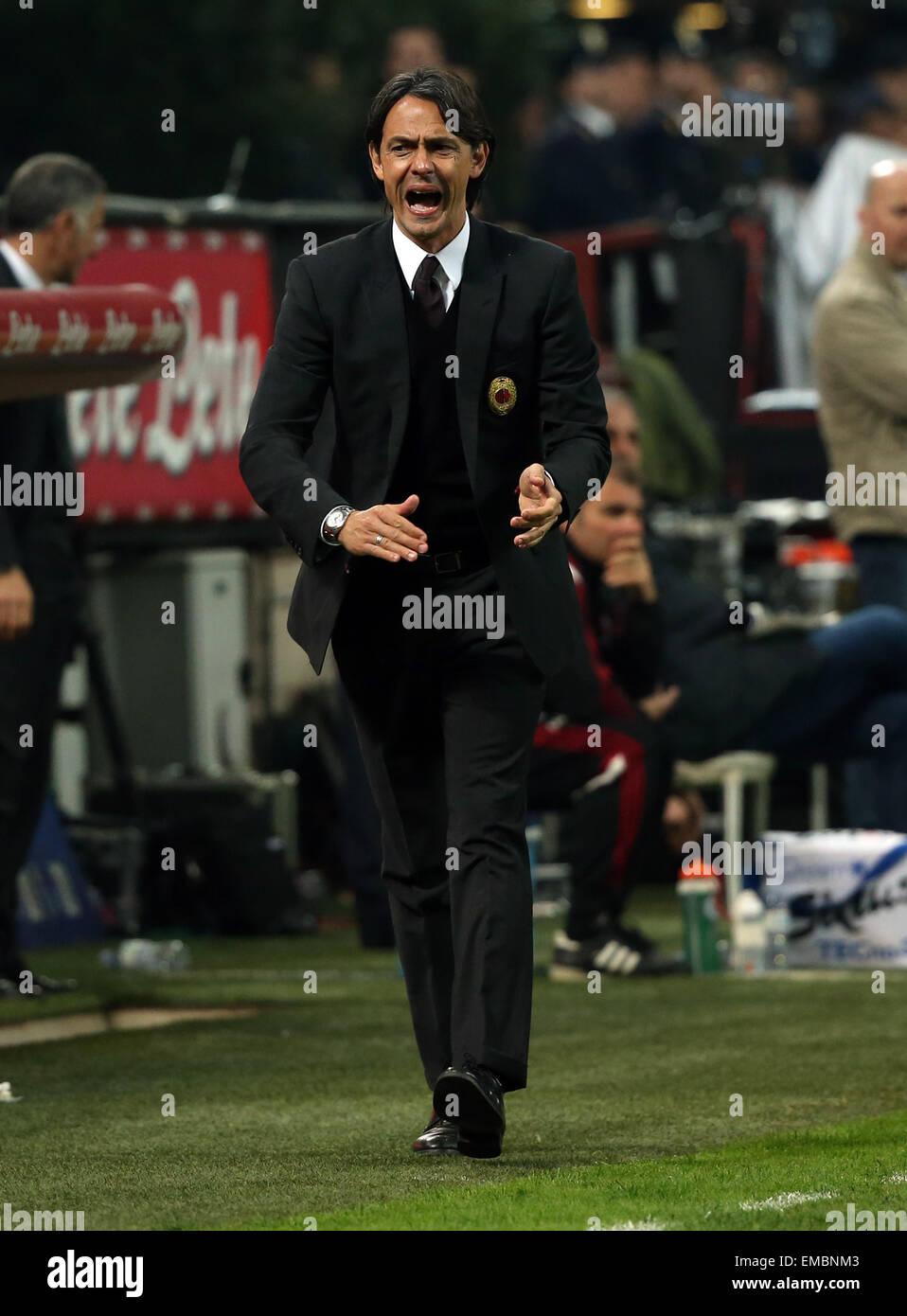 Milan, Italy. 19th Apr, 2015. Giuseppe Meazza stadium, Milan, Italy. Serie A football league. Inter Milan versus Stock Photo