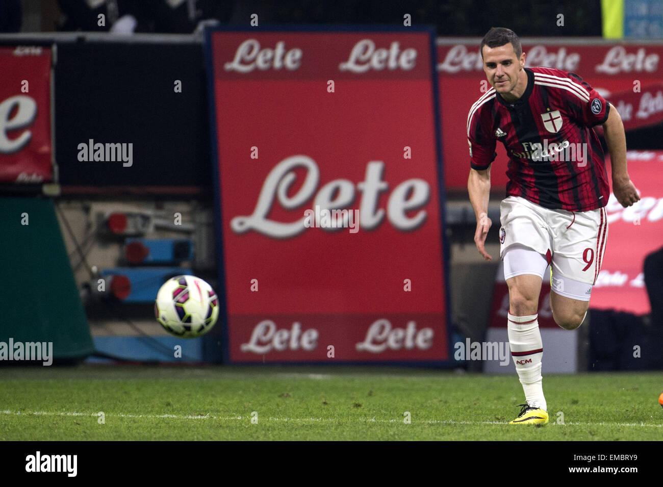 Milan Italy 19th Apr 2015 Mattia Destro Milan Football Soccer Stock Photo Alamy