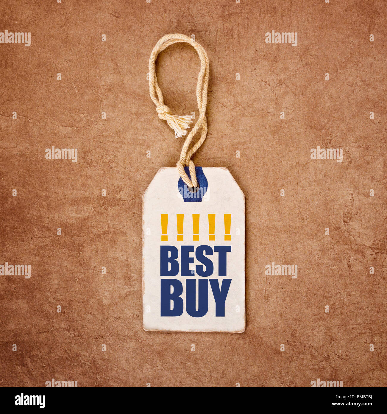 Vintage Price Tag Label with Best Buy Title for Shopping Recommendation Concept, Top View, Filtered and Toned image - Stock Image
