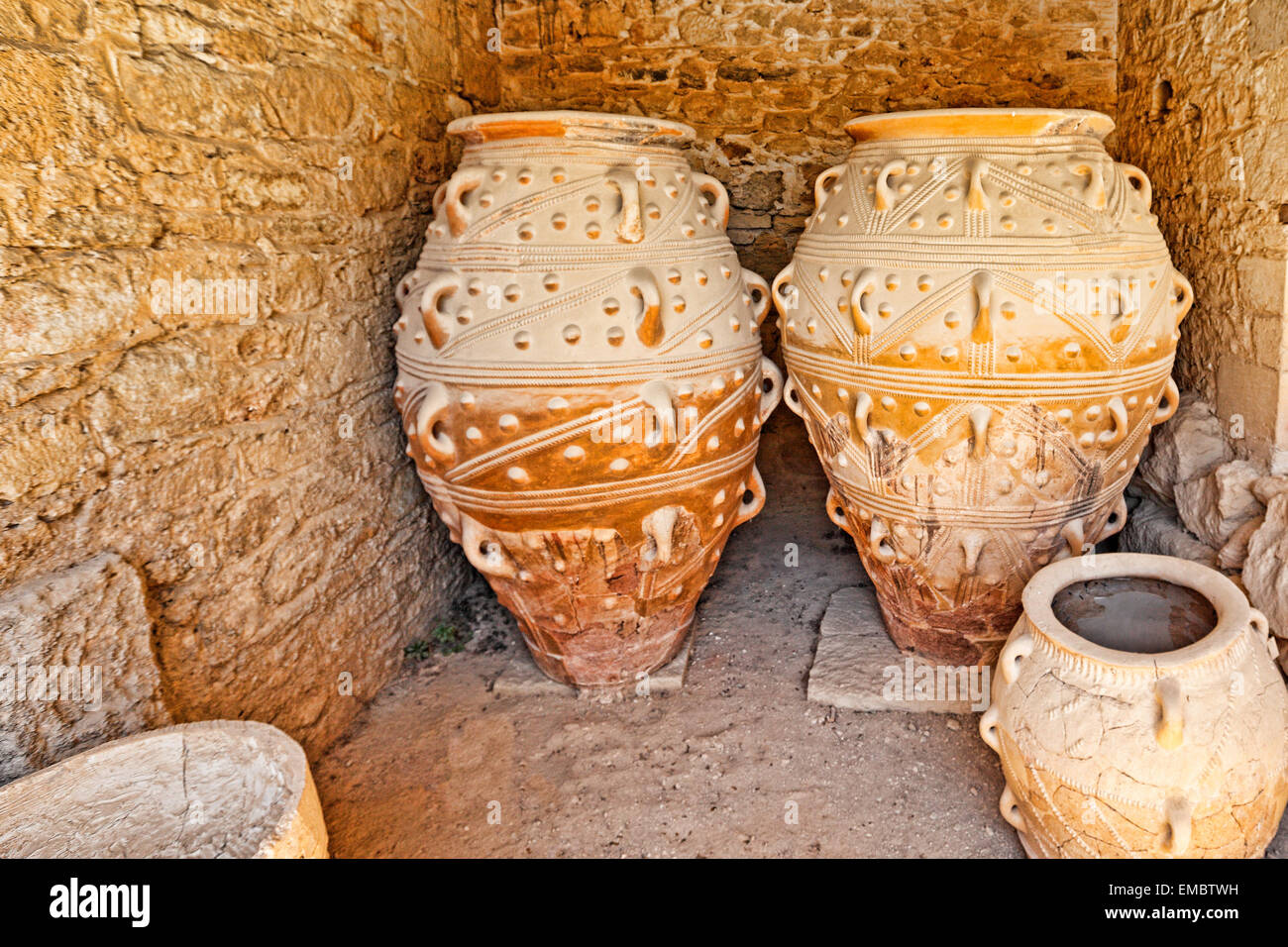 The Magazines of the Giant Pithoi of the Palace in Knossos at Crete, Greece - Stock Image