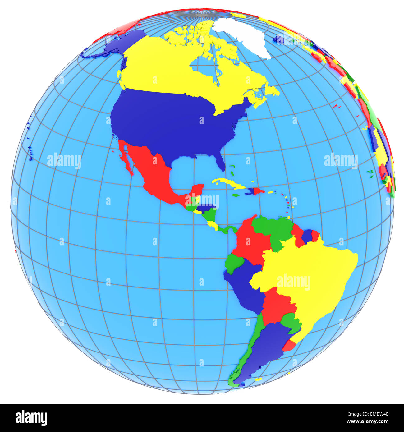 South and north america political map of the world with countries south and north america political map of the world with countries in four colours isolated on white background gumiabroncs Image collections