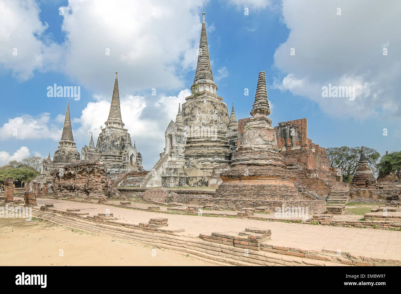 Old Temple Architecture , Wat Phra si sanphet at Ayutthaya, Thailand, World Heritage Site - Stock Image