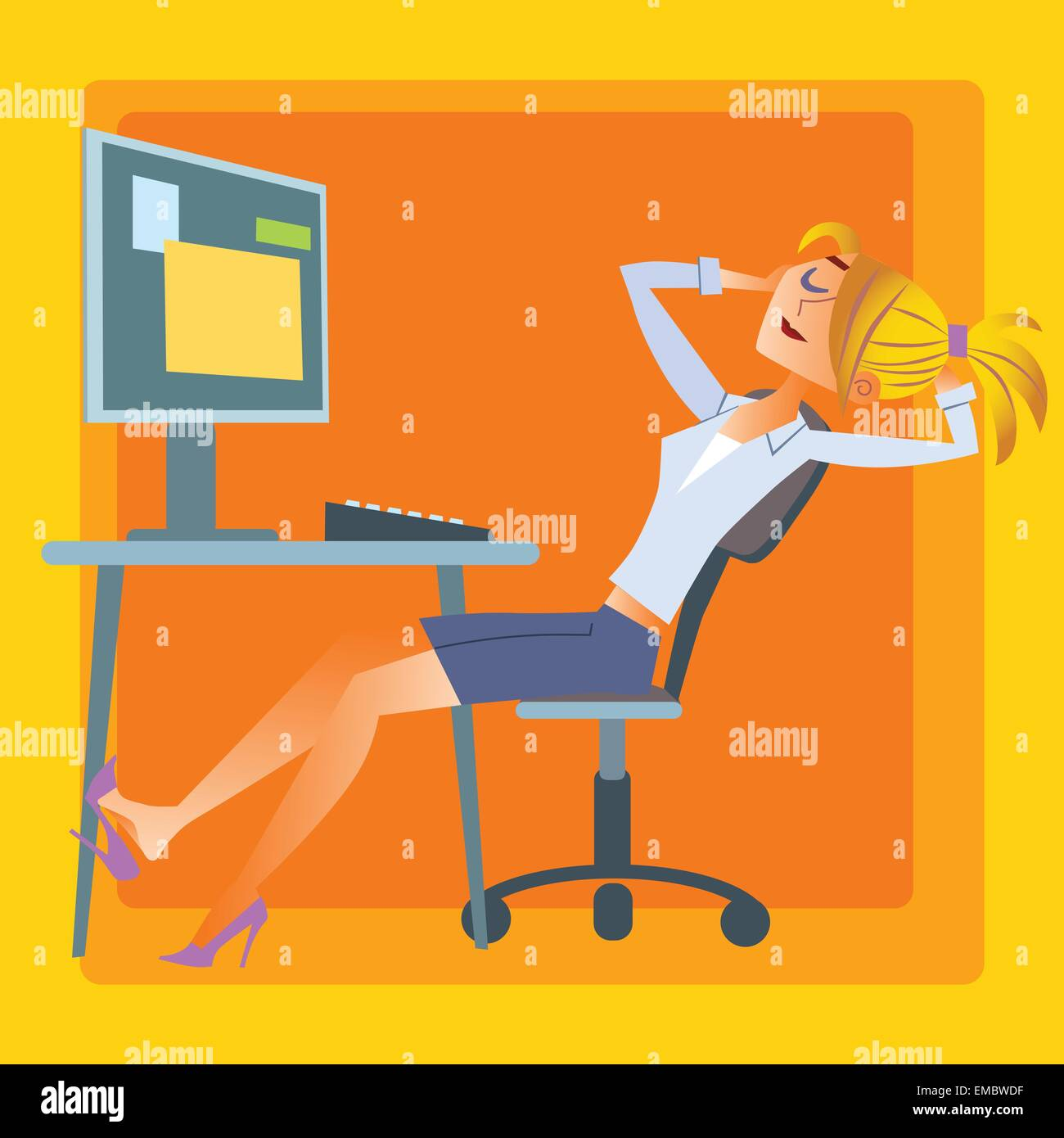 The girl in the office is resting in the computer. Pause in the work - Stock Vector