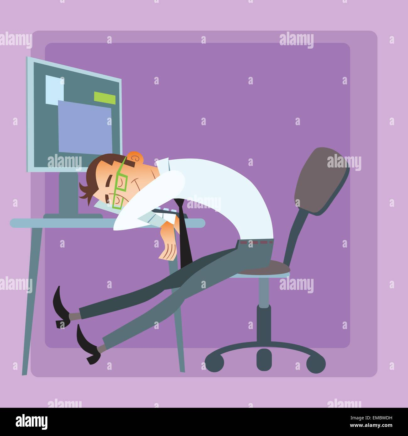 Tired worker businessman sleeping in the office at the computer - Stock Vector