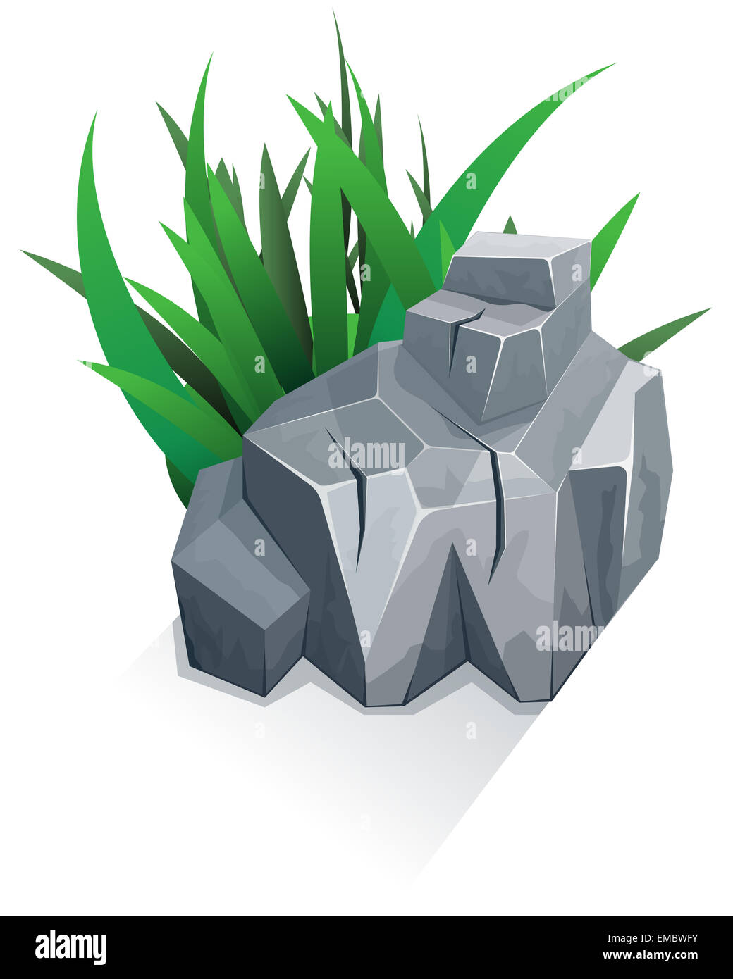 Single stone with grass - Stock Image
