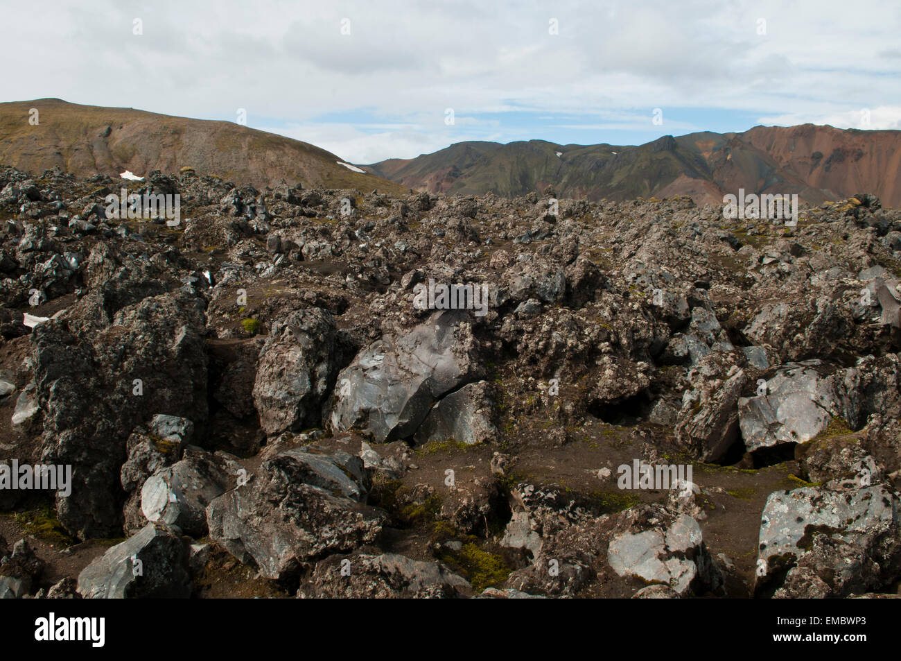 landscape with cooled down of stream of lava, Fjallabak National Park, Landmannalaugar, Iceland - Stock Image