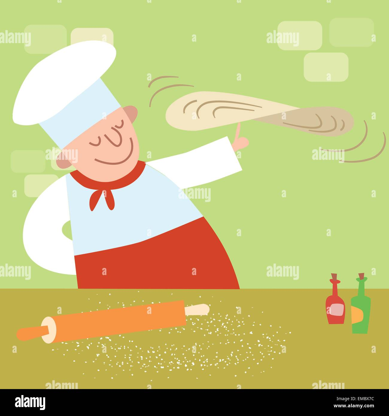 The restaurant cook in the kitchen cooking pizza. Chef rotates the dough - Stock Vector