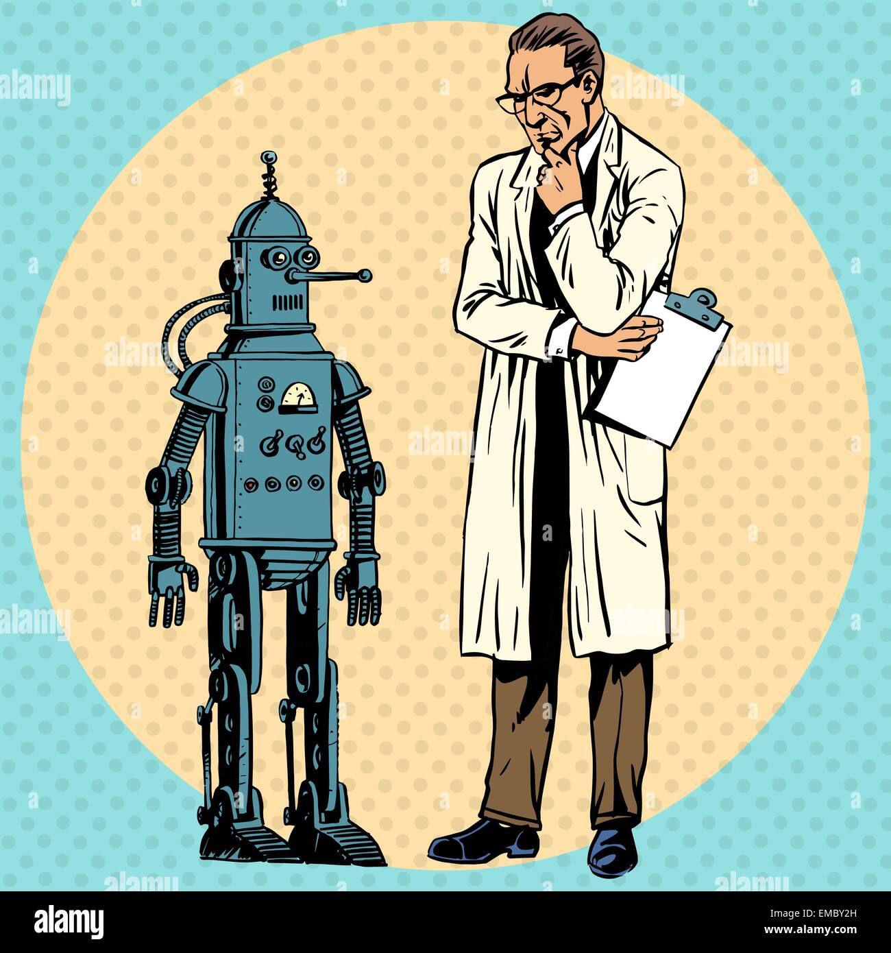 professor scientist and a robot the creator and gadget