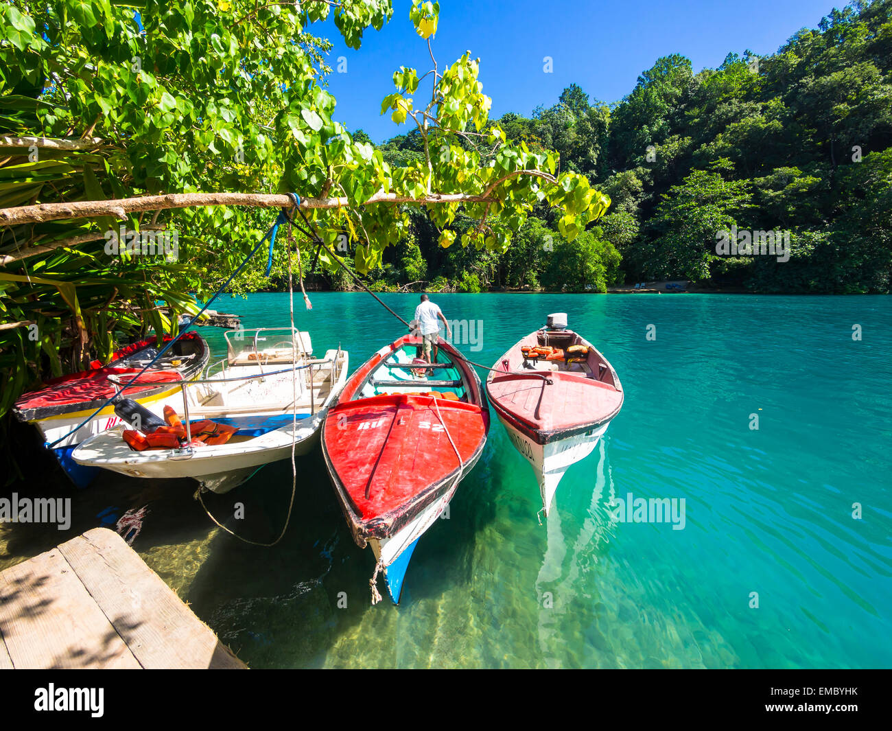 Jamaica, Port Antonio, boats in the blue lagoon Stock Photo