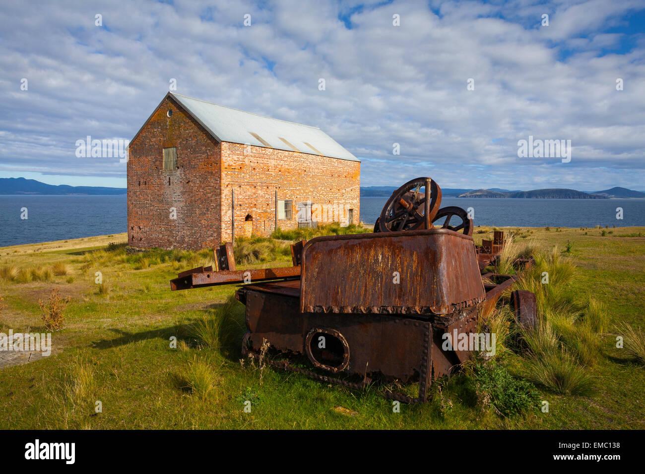 Convict Barn (c.1844) - Maria Island National Park - Tasmania - Australia - Stock Image