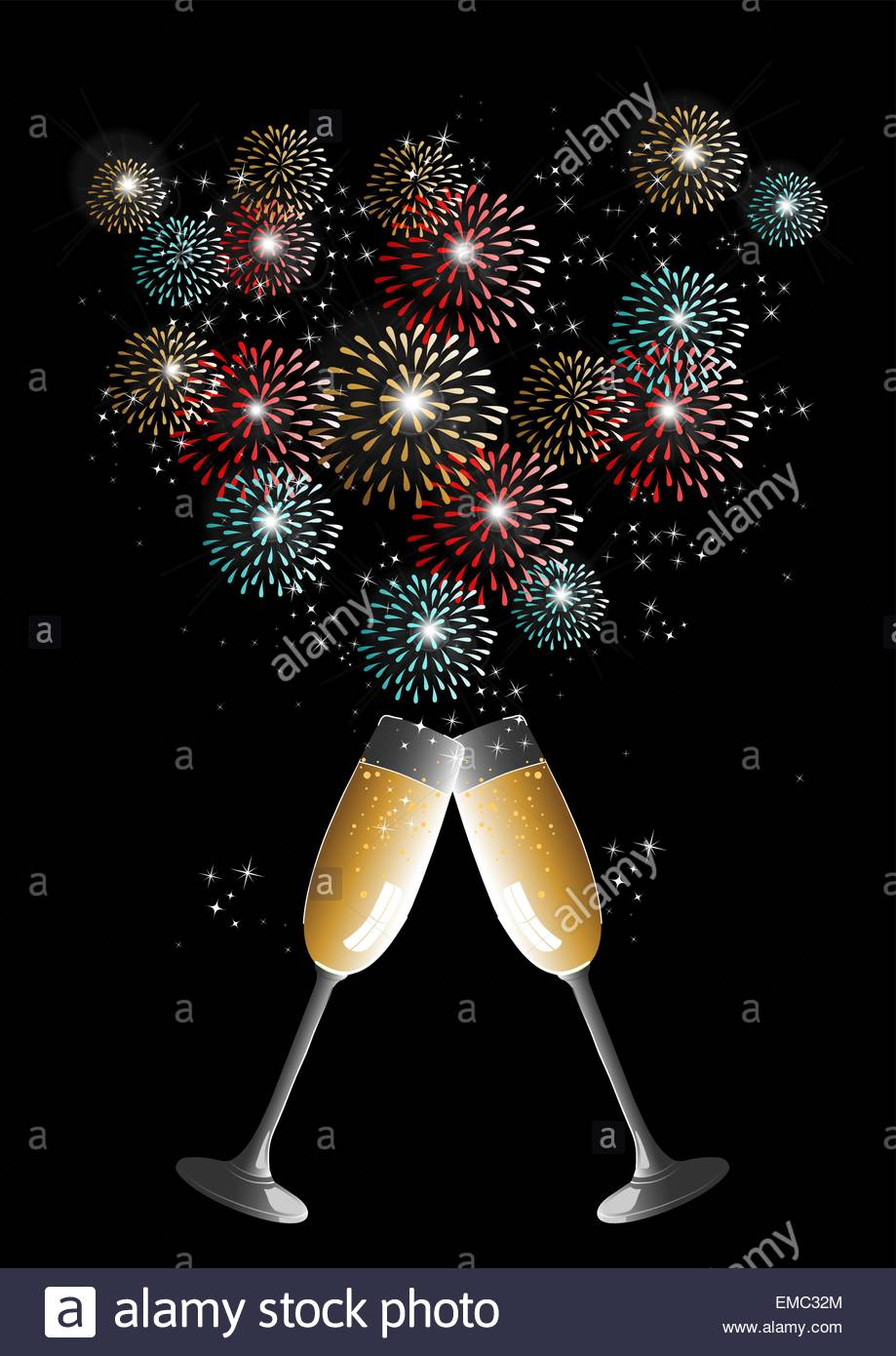 Happy new year 2014 champagne fireworks greeting card stock vector happy new year 2014 champagne fireworks greeting card m4hsunfo