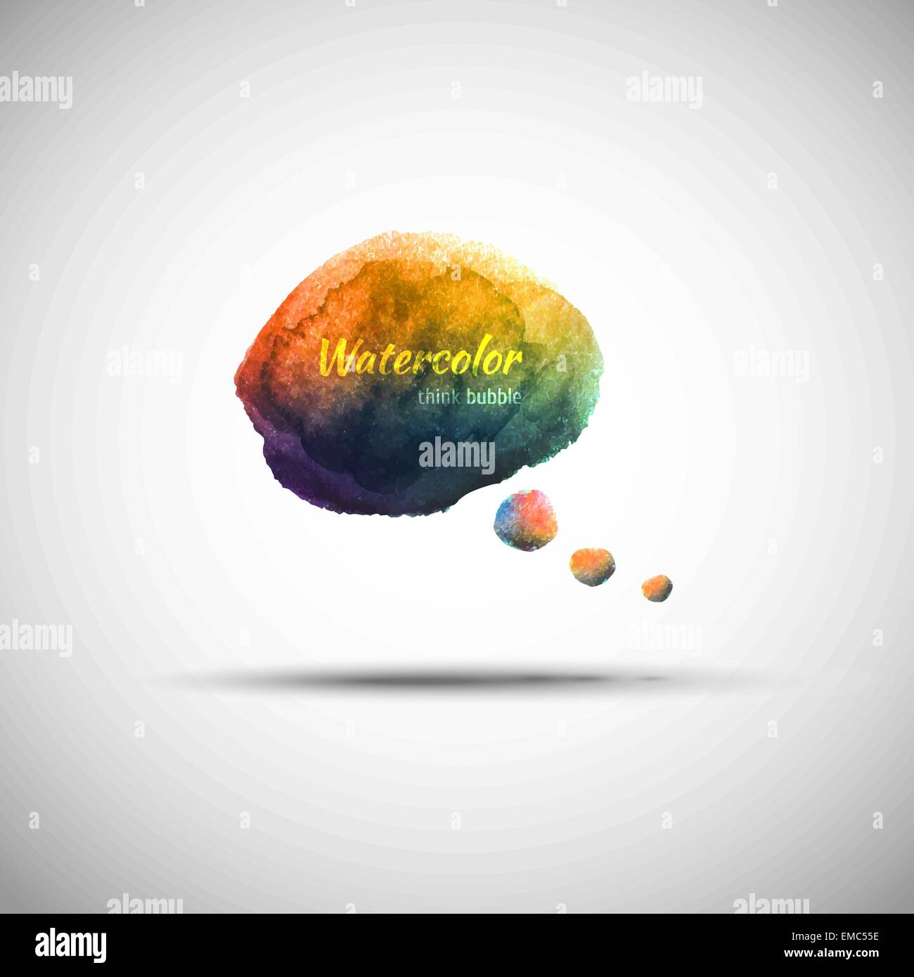Watercolor think bubble Stock Vector