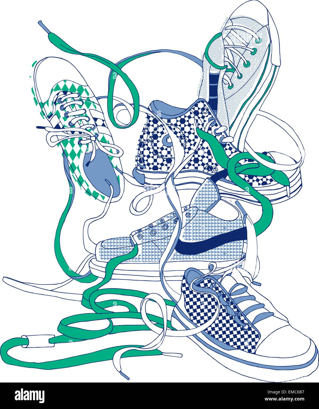 sneakers mess - Stock Image