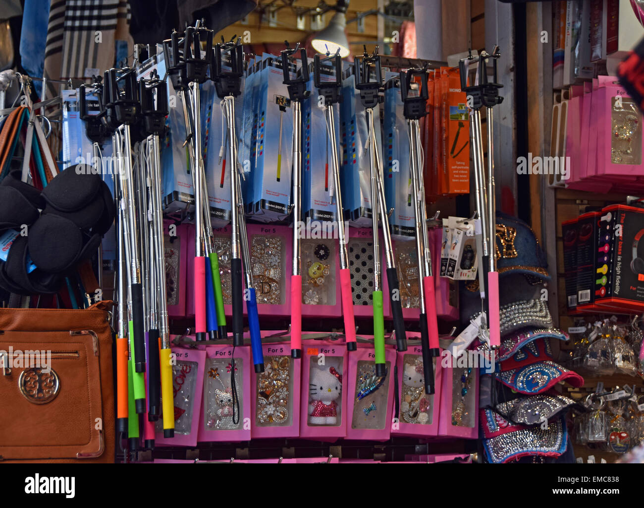 a0e239279fb1 Selfie sticks for sale at a tourist shop on Canal Street in Stock ...