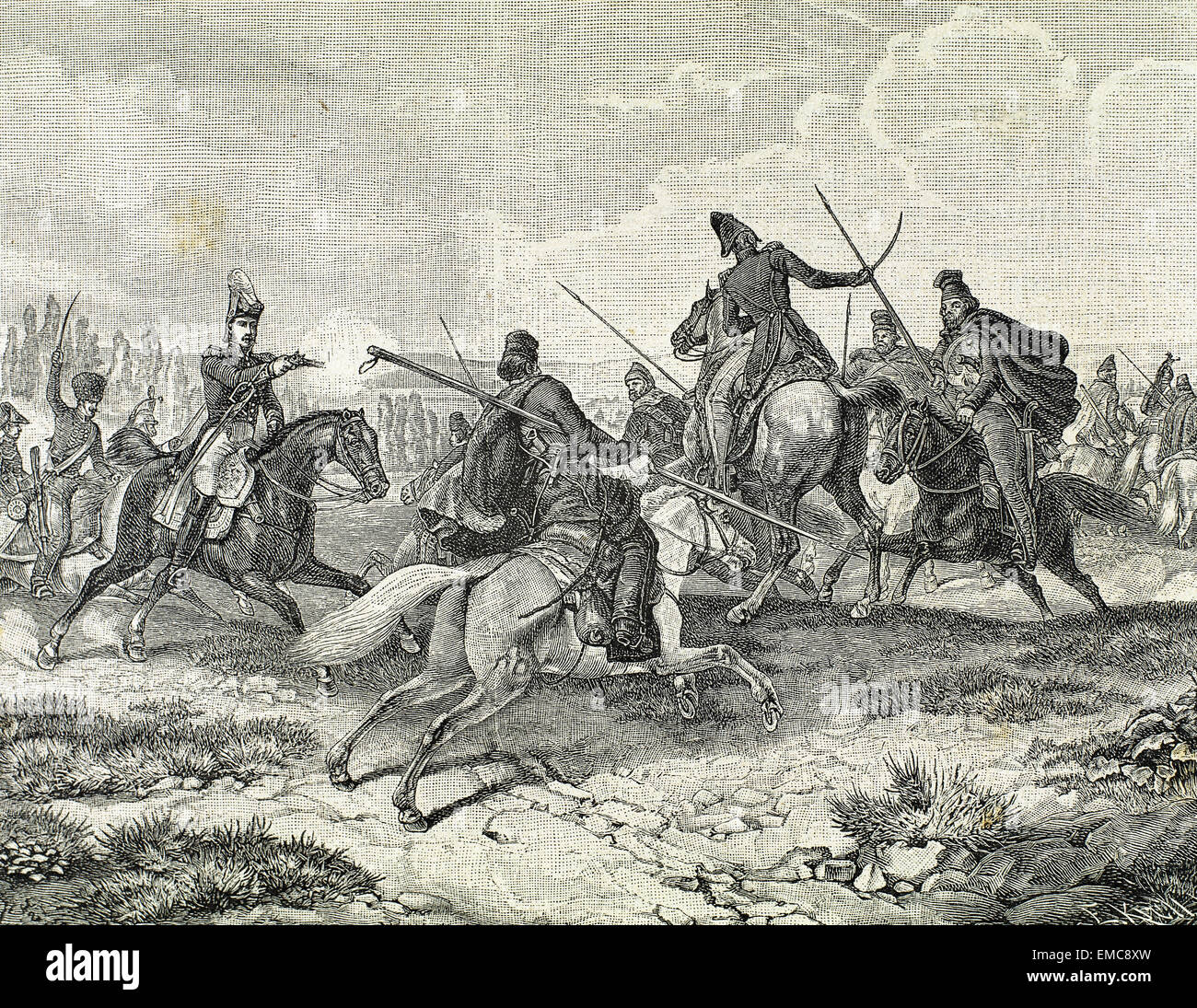 Napoleonic Wars. Struggle in Russia. Cossacks against French Army. Engraving, 19th century. - Stock Image
