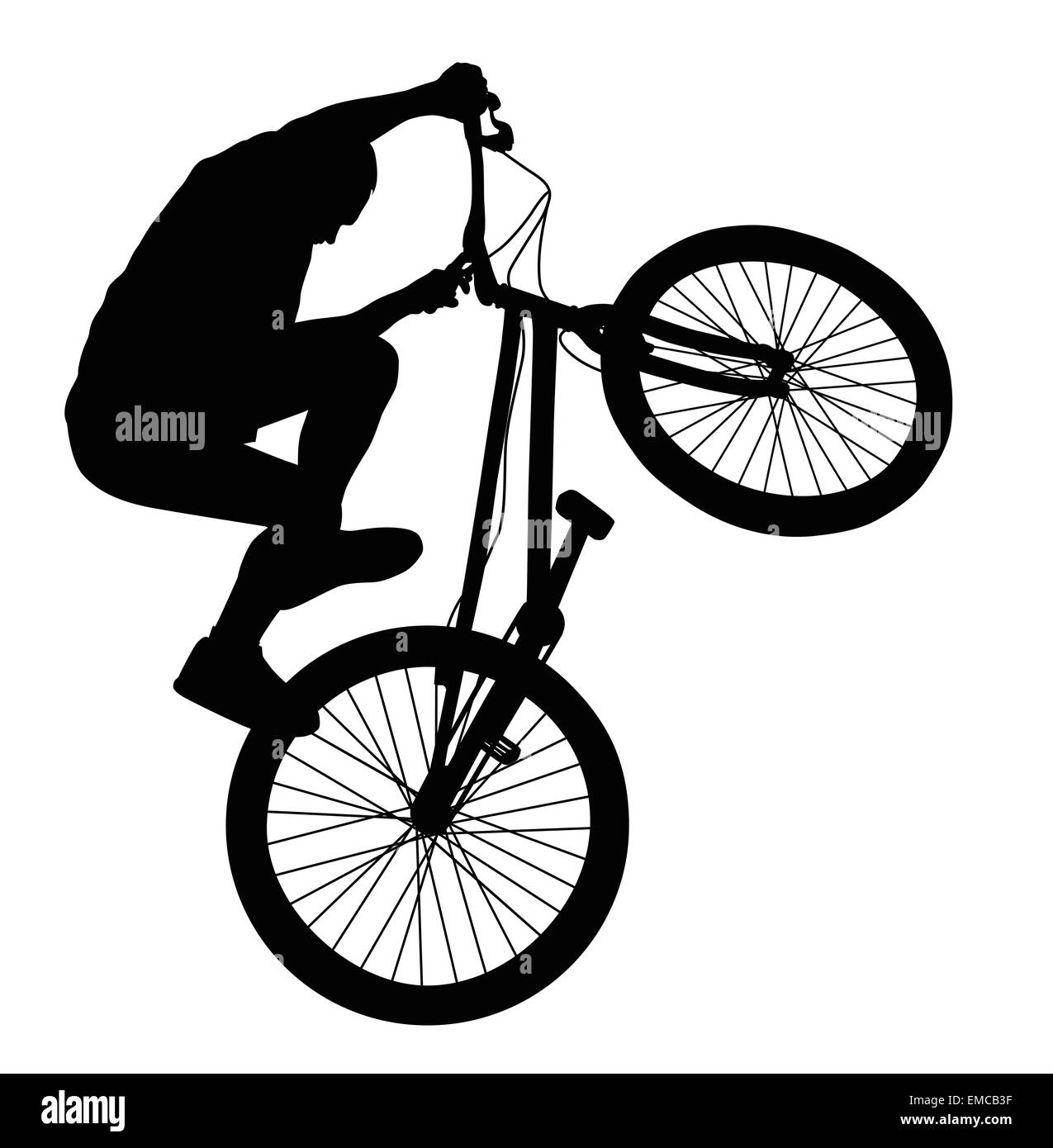 Biker vector silhouette - Stock Image