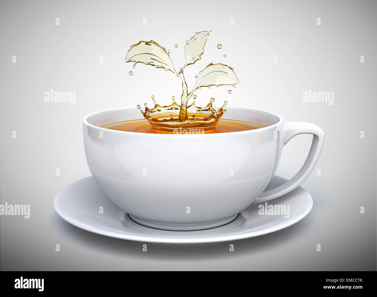Splash of the tea in form of a plant in white cup - Stock Image