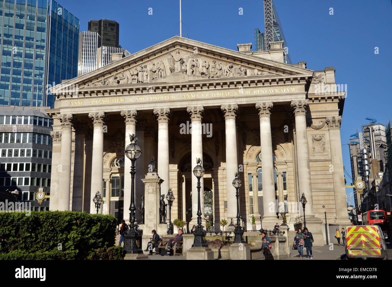 The Royal Exchange building in the City of London - Stock Image
