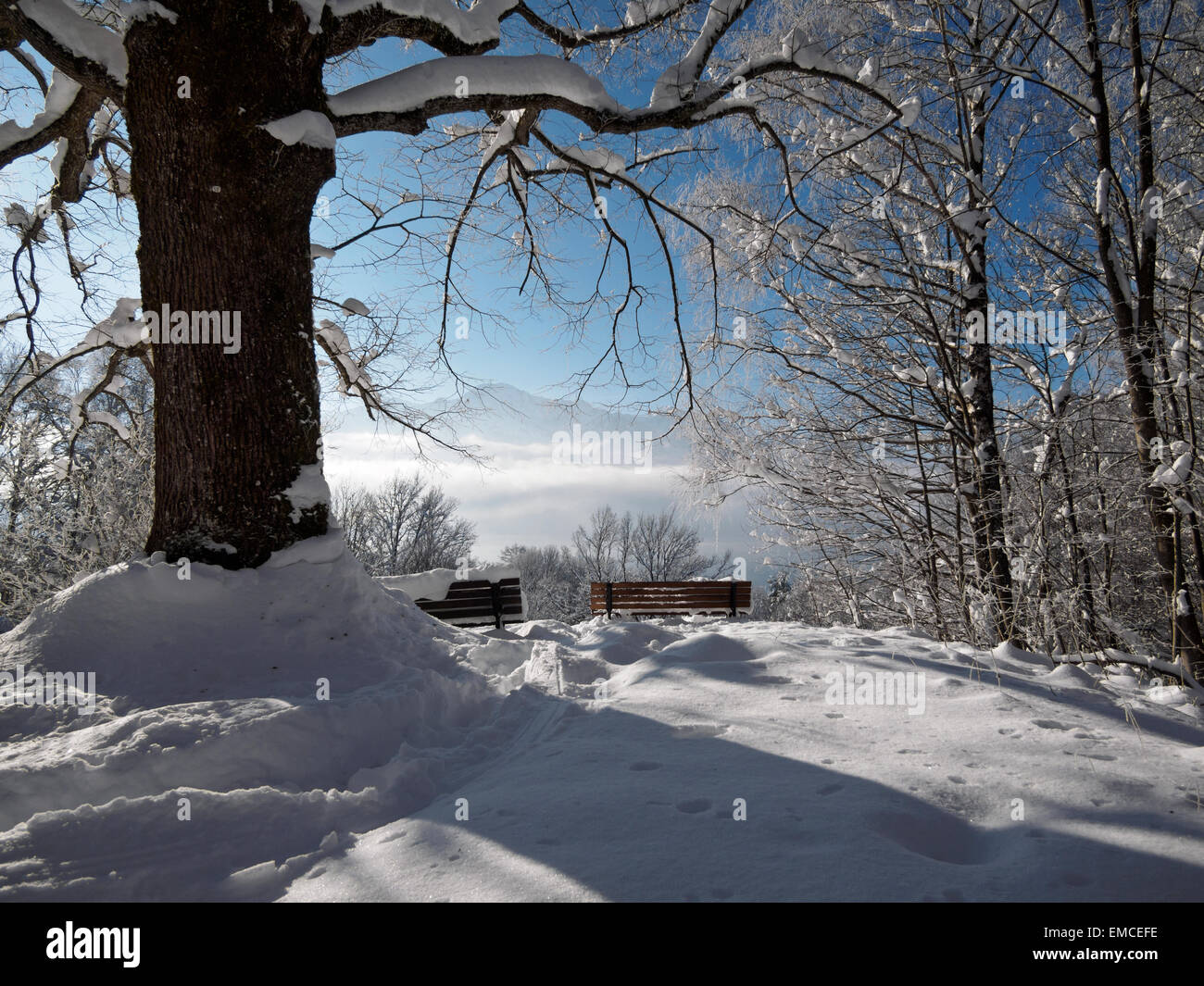 Germany, Kochel am See, snow-covered observation point - Stock Image