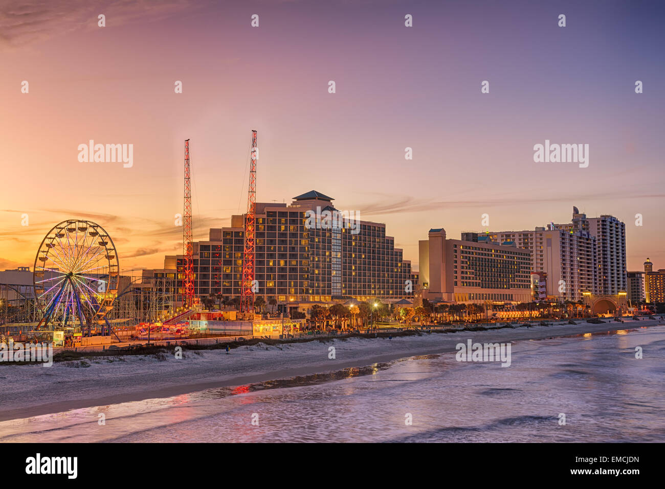 Skyline of Daytona Beach, Florida, at sunset from the fishing pier. Hdr processed. - Stock Image