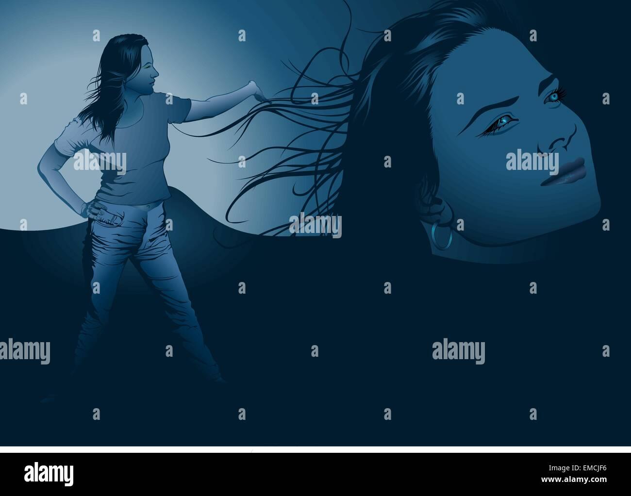 Girl and Blue Phantasy - Stock Image