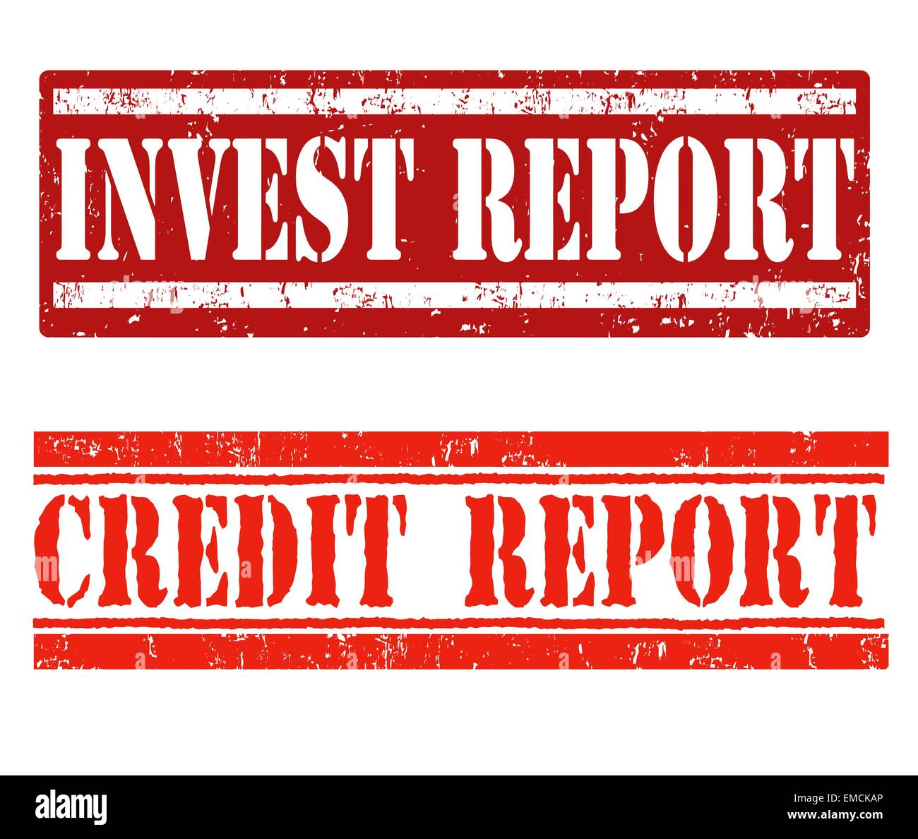 Invest report and credit report stamps - Stock Image
