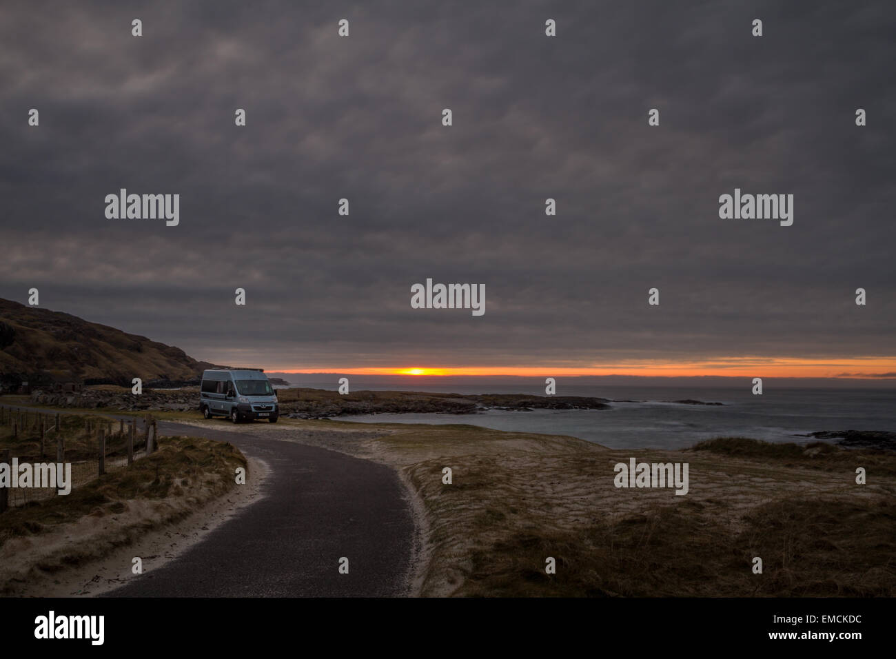 Overnight camping at Cliad Isle of Barra, Outer Hebrides - Stock Image